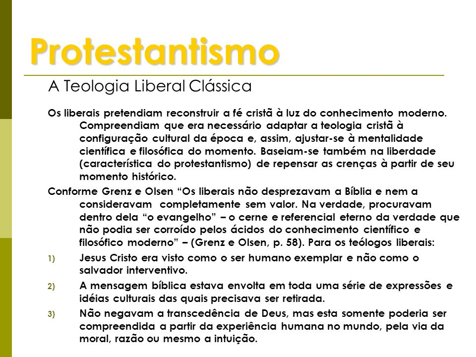 Protestantismo A Teologia Liberal Clássica