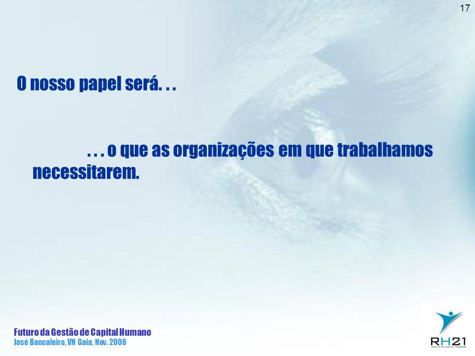 . . . o que as organizações em que trabalhamos necessitarem.