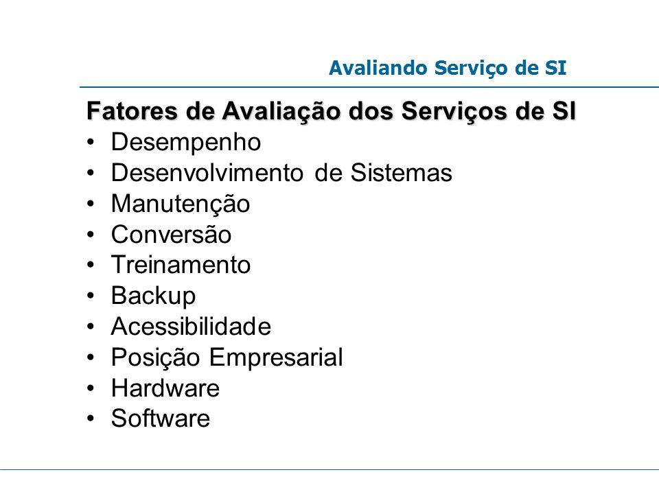 Fatores de Avaliação dos Serviços de SI Desempenho