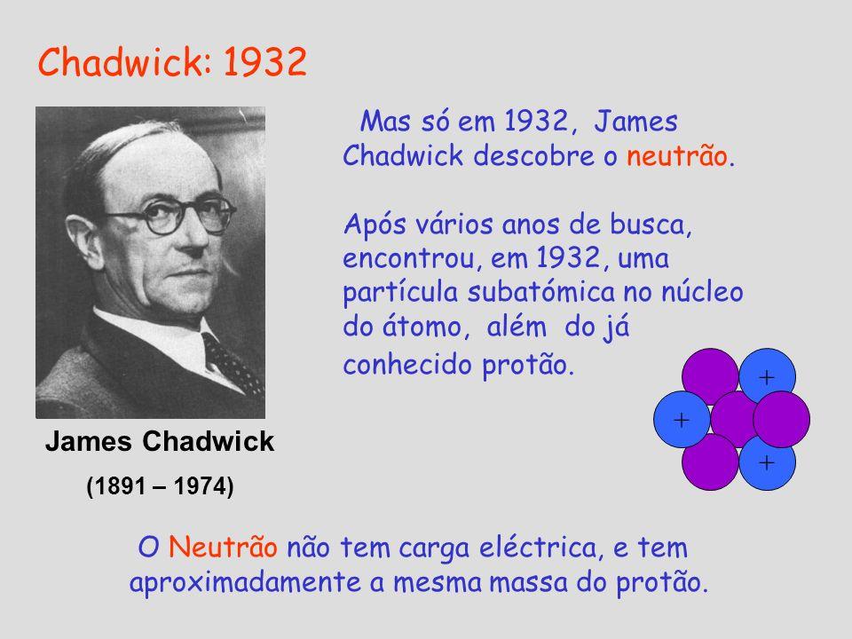 Chadwick: 1932 Mas só em 1932, James Chadwick descobre o neutrão.