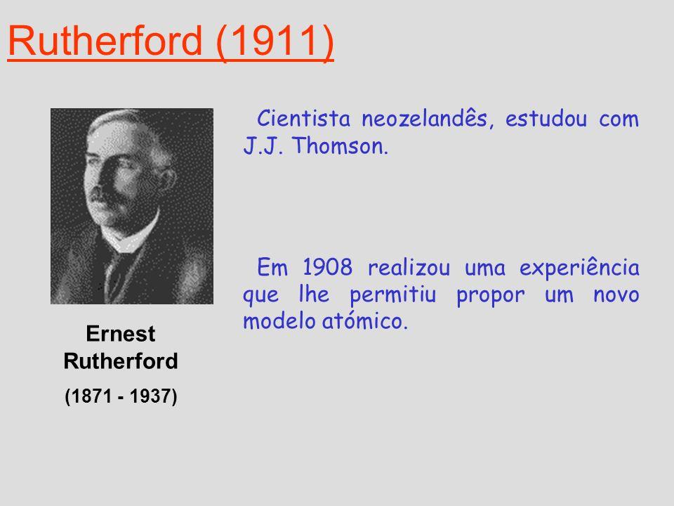 Rutherford (1911) Cientista neozelandês, estudou com J.J. Thomson.