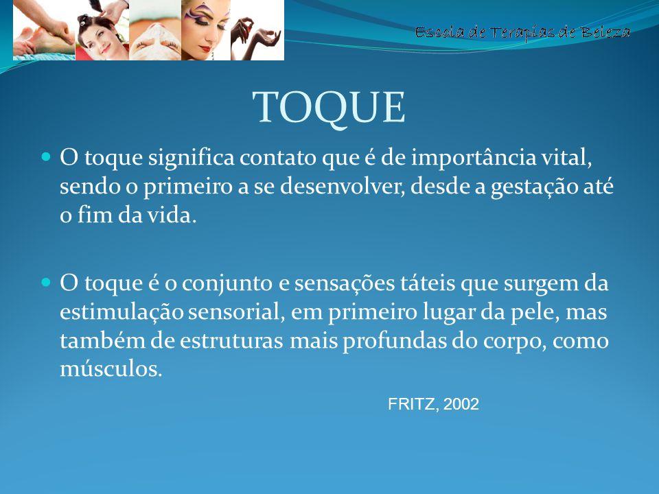 TOQUE O toque significa contato que é de importância vital, sendo o primeiro a se desenvolver, desde a gestação até o fim da vida.