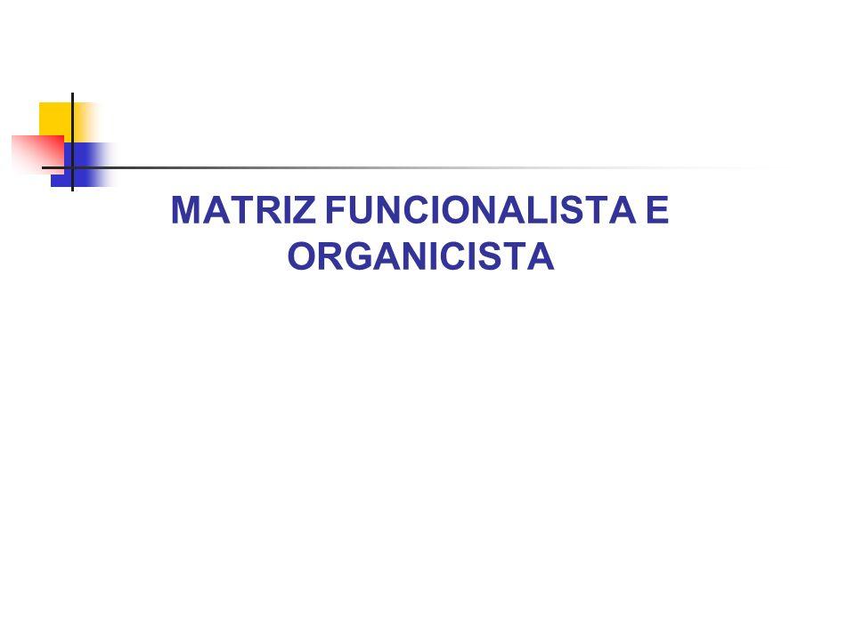 MATRIZ FUNCIONALISTA E ORGANICISTA