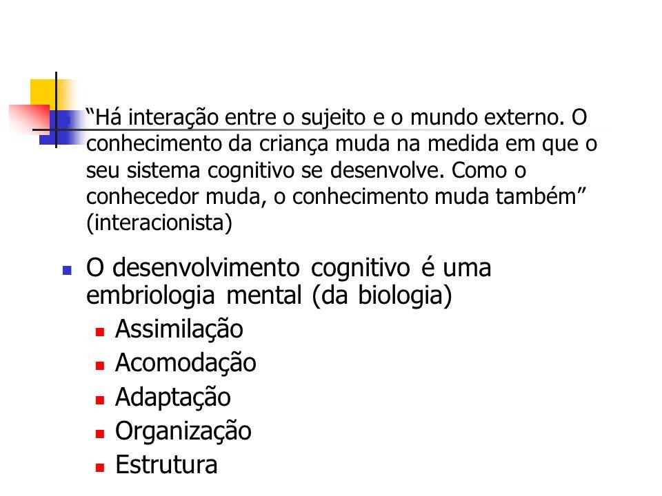 O desenvolvimento cognitivo é uma embriologia mental (da biologia)