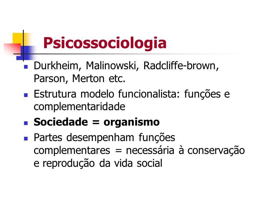 Psicossociologia Durkheim, Malinowski, Radcliffe-brown, Parson, Merton etc. Estrutura modelo funcionalista: funções e complementaridade.