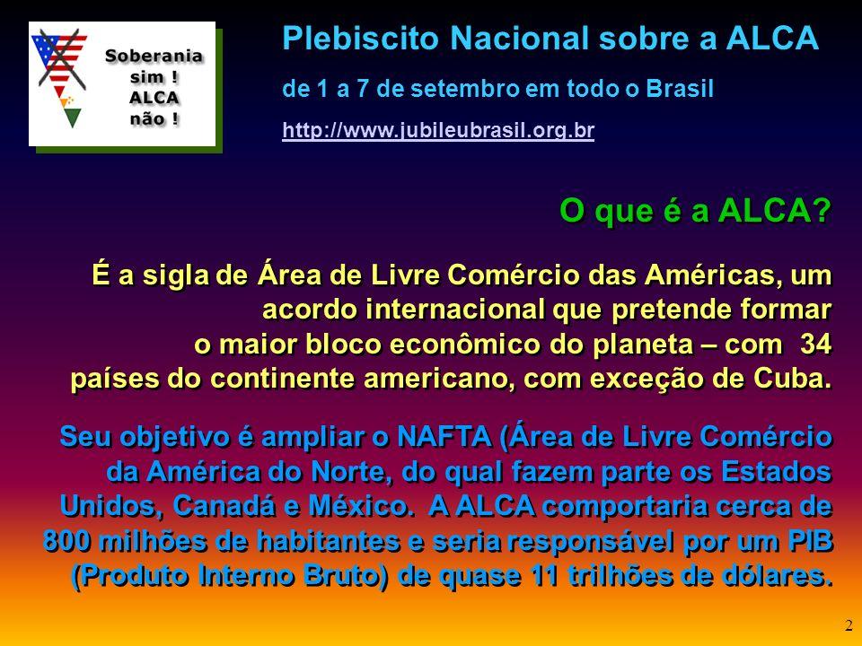 Plebiscito Nacional sobre a ALCA de 1 a 7 de setembro em todo o Brasil http://www.jubileubrasil.org.br