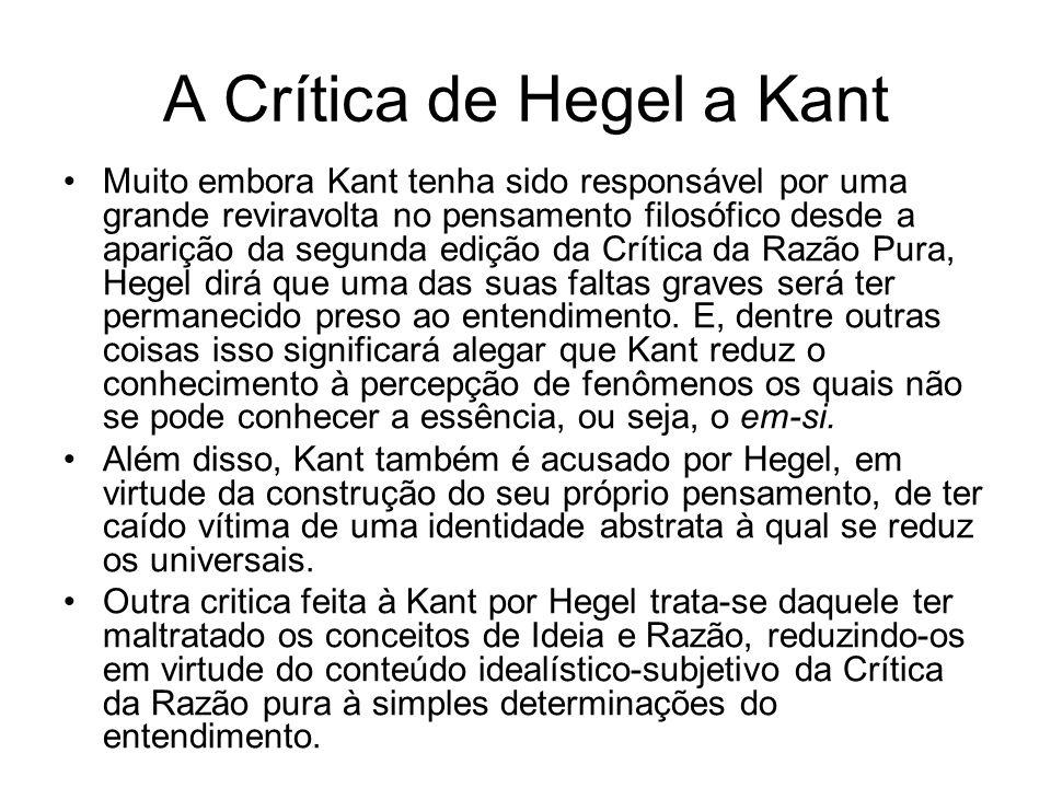 A Crítica de Hegel a Kant