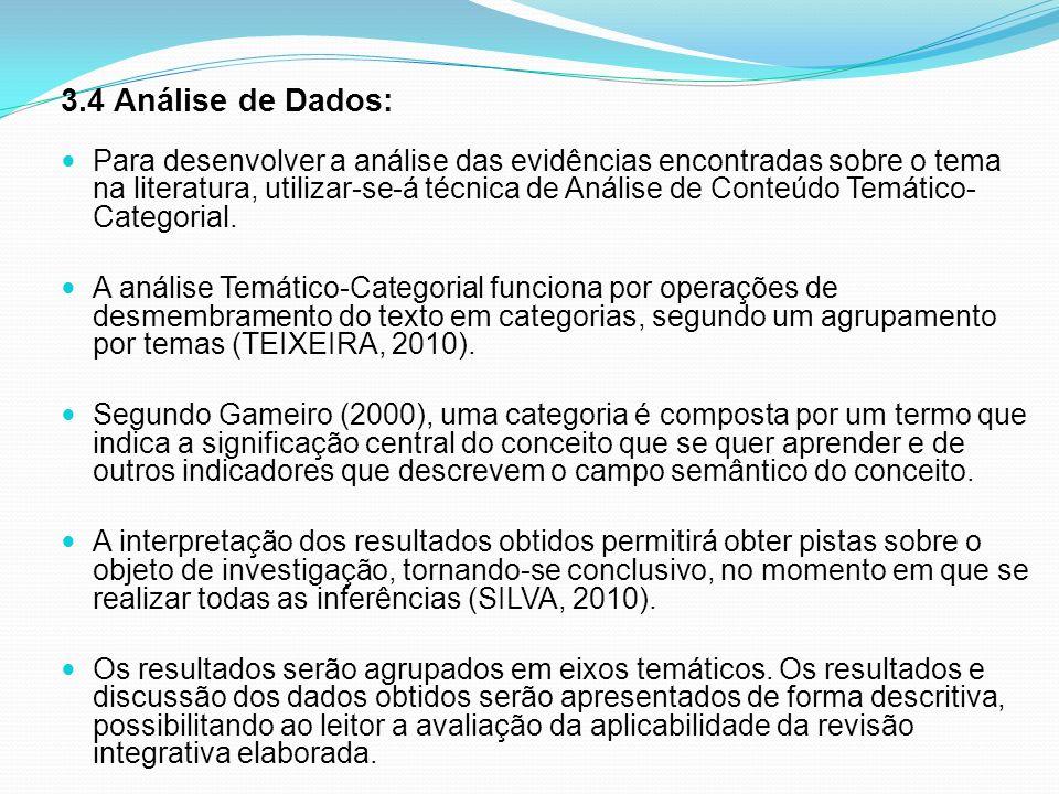 3.4 Análise de Dados: