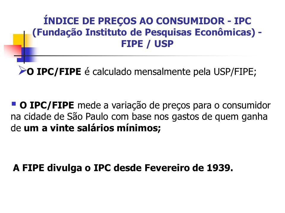 ÍNDICE DE PREÇOS AO CONSUMIDOR - IPC (Fundação Instituto de Pesquisas Econômicas) - FIPE / USP