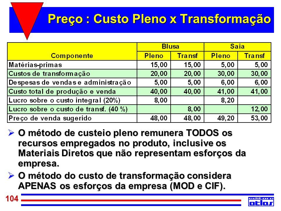 Preço : Custo Pleno x Transformação