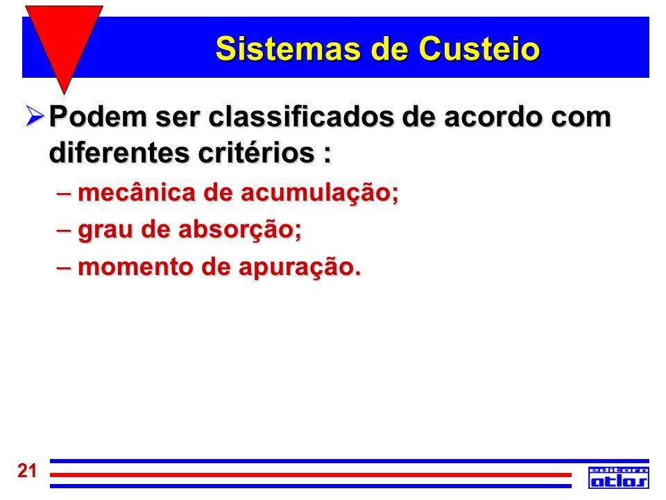 Sistemas de CusteioPodem ser classificados de acordo com diferentes critérios : mecânica de acumulação;