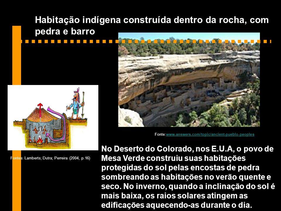 Habitação indígena construída dentro da rocha, com pedra e barro