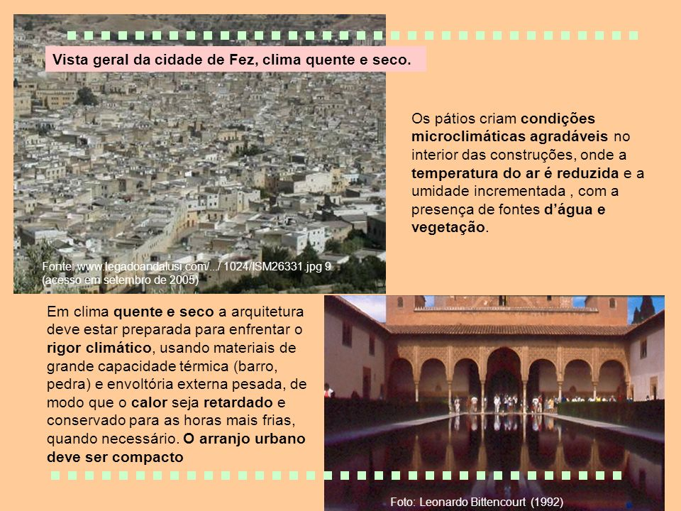 Vista geral da cidade de Fez, clima quente e seco.