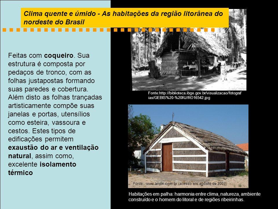 Clima quente e úmido - As habitações da região litorânea do nordeste do Brasil