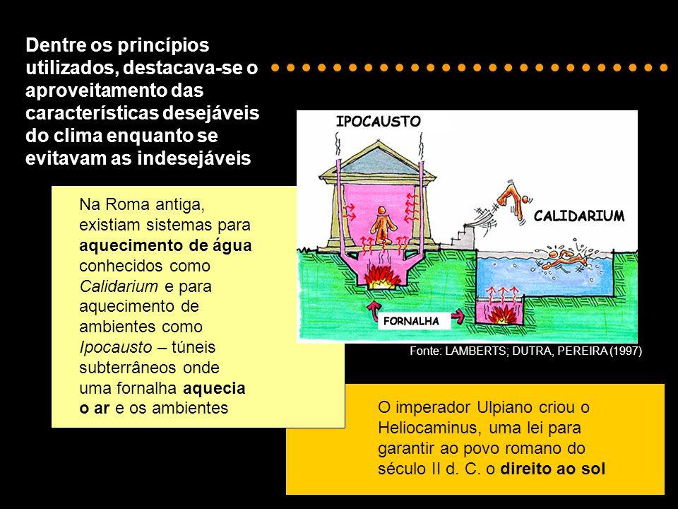 Dentre os princípios utilizados, destacava-se o aproveitamento das características desejáveis do clima enquanto se evitavam as indesejáveis.