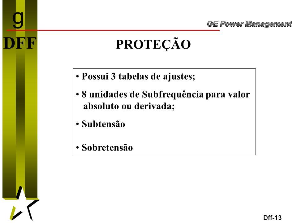 g DFF PROTEÇÃO Possui 3 tabelas de ajustes;