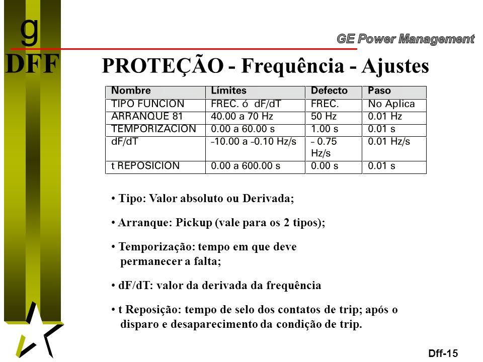 g DFF PROTEÇÃO - Frequência - Ajustes