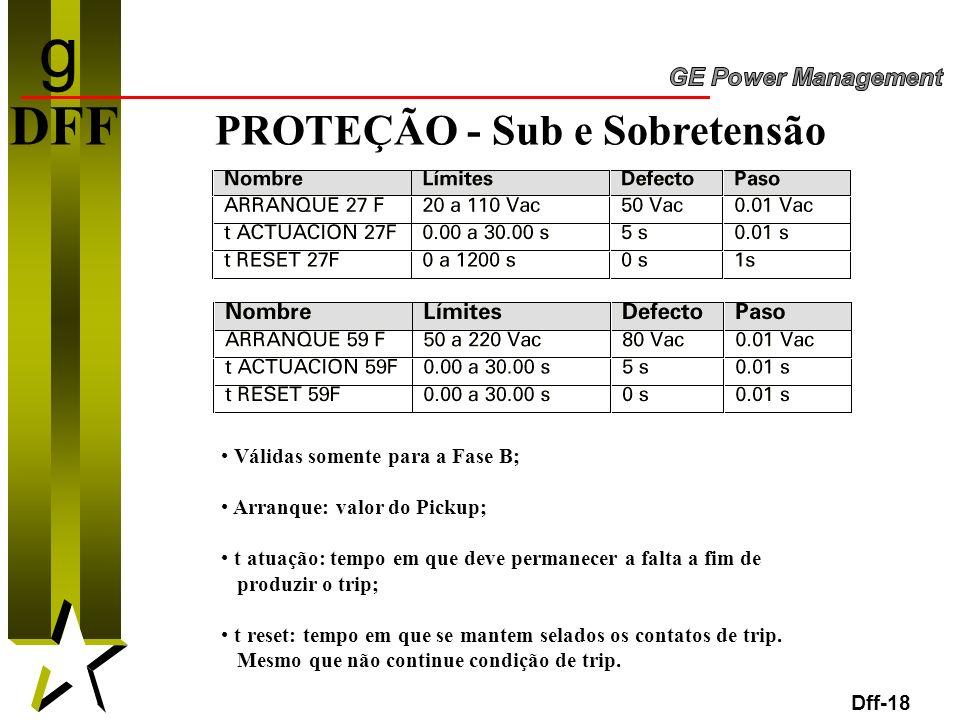 g DFF PROTEÇÃO - Sub e Sobretensão Válidas somente para a Fase B;