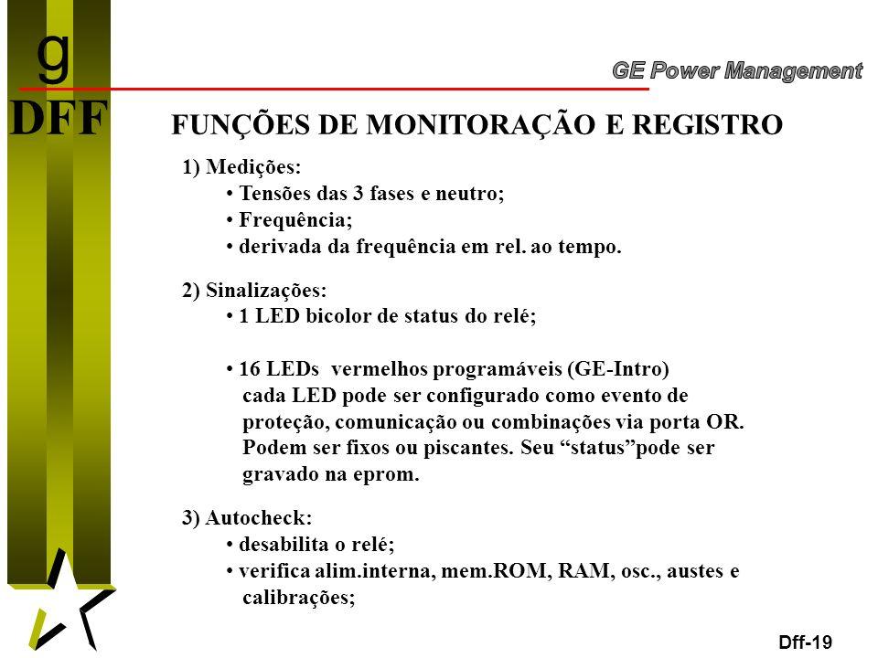 g DFF FUNÇÕES DE MONITORAÇÃO E REGISTRO 1) Medições: