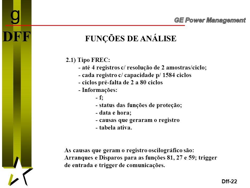g DFF FUNÇÕES DE ANÁLISE 2.1) Tipo FREC: