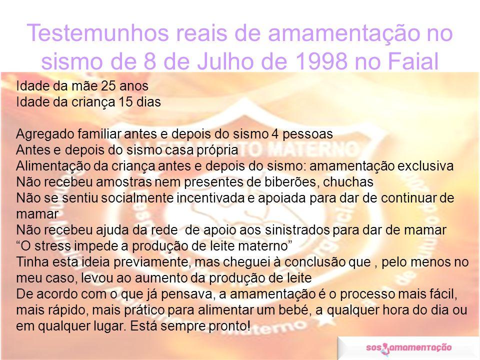 Testemunhos reais de amamentação no sismo de 8 de Julho de 1998 no Faial