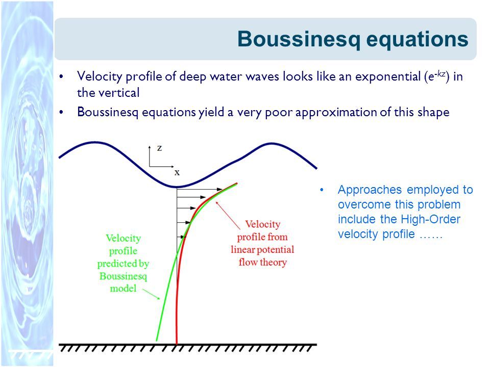 Boussinesq equationsVelocity profile of deep water waves looks like an exponential (e-kz) in the vertical.