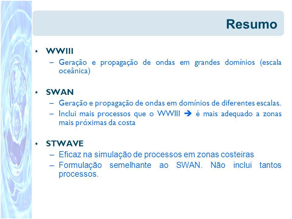 ResumoWWIII. Geração e propagação de ondas em grandes domínios (escala oceânica) SWAN.