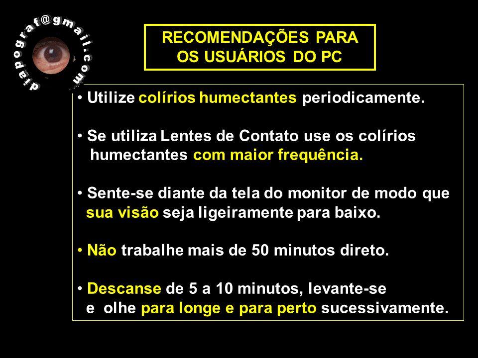 RECOMENDAÇÕES PARA OS USUÁRIOS DO PC