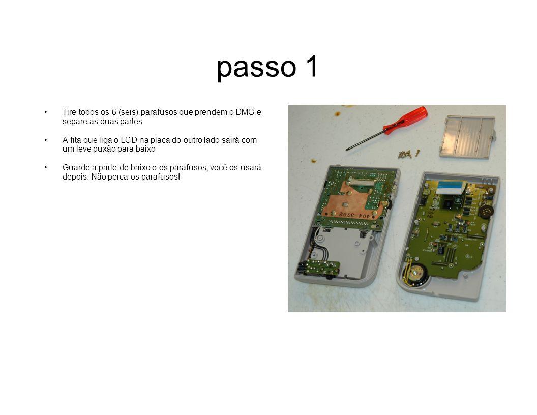 passo 1Tire todos os 6 (seis) parafusos que prendem o DMG e separe as duas partes.