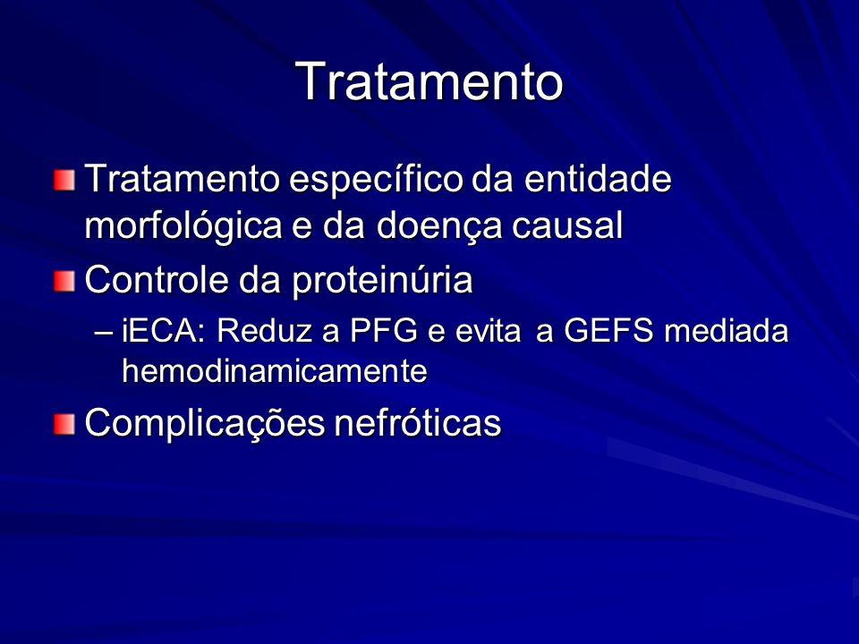 Tratamento Tratamento específico da entidade morfológica e da doença causal. Controle da proteinúria.