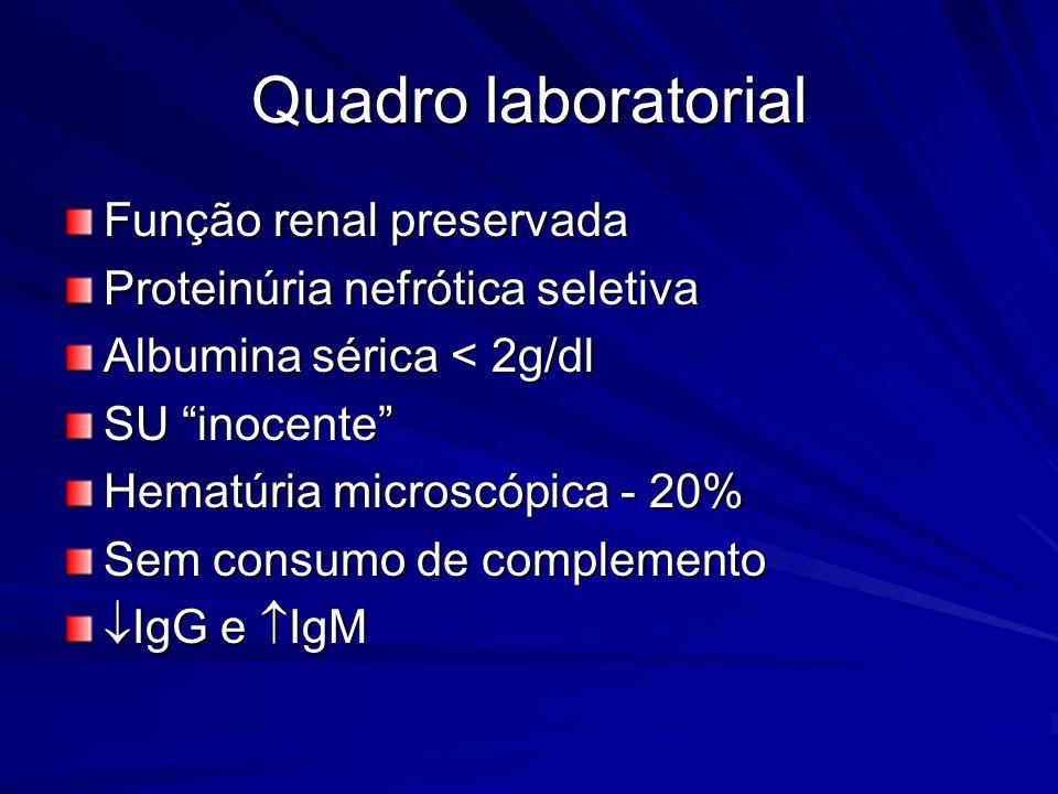 Quadro laboratorial Função renal preservada