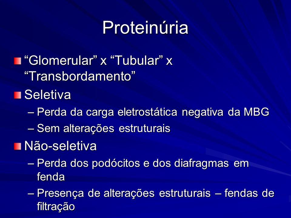 Proteinúria Glomerular x Tubular x Transbordamento Seletiva