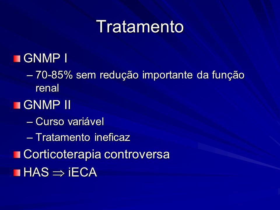 Tratamento GNMP I GNMP II Corticoterapia controversa HAS  iECA