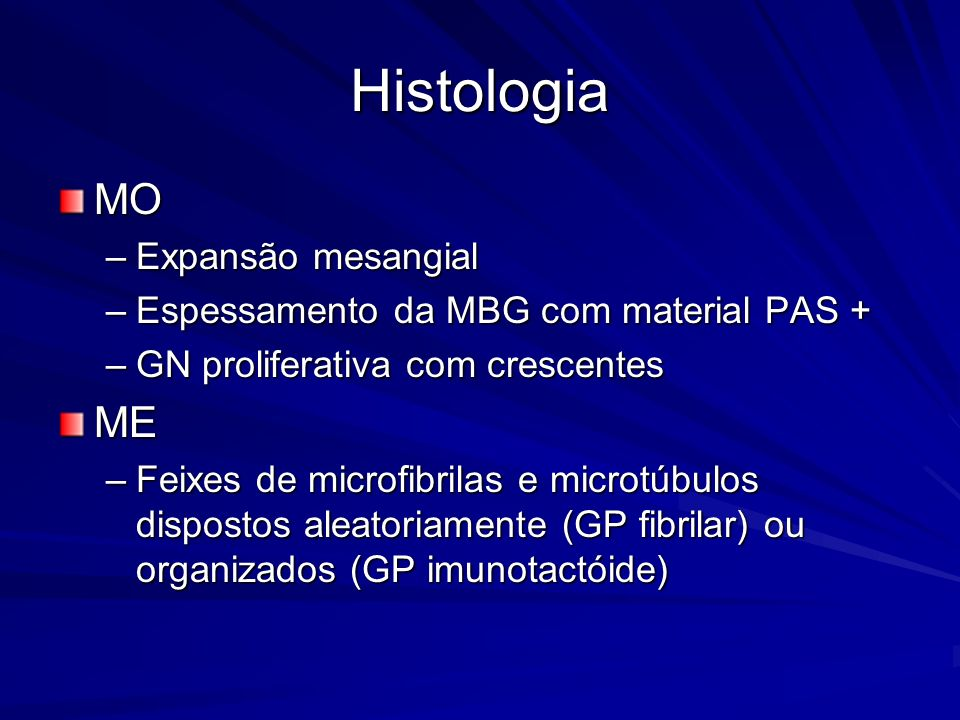 Histologia MO ME Expansão mesangial