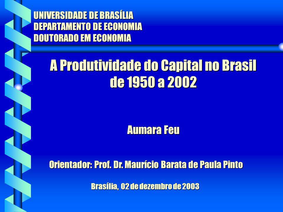 A Produtividade do Capital no Brasil de 1950 a 2002