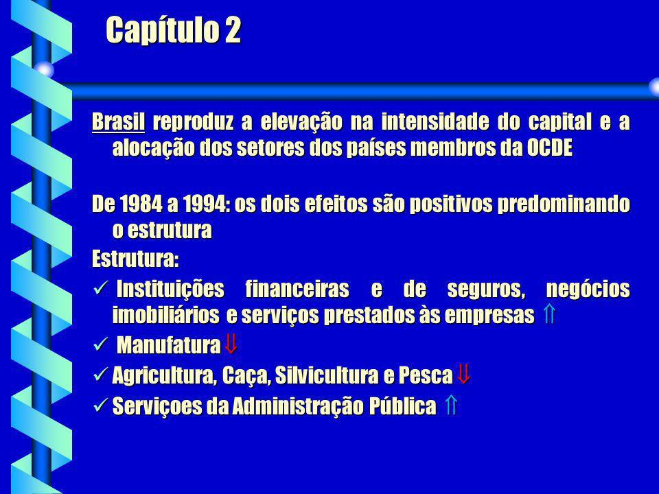 Capítulo 2Brasil reproduz a elevação na intensidade do capital e a alocação dos setores dos países membros da OCDE.