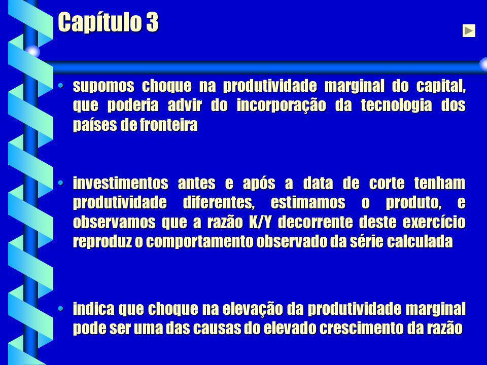 Capítulo 3 supomos choque na produtividade marginal do capital, que poderia advir do incorporação da tecnologia dos países de fronteira.