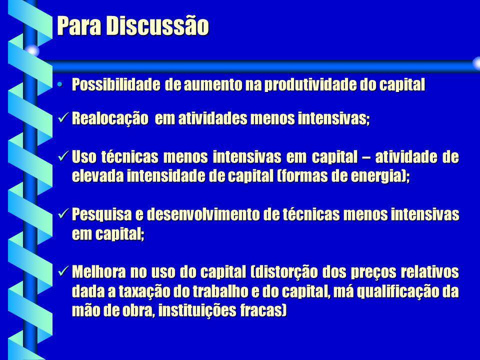Para Discussão Possibilidade de aumento na produtividade do capital
