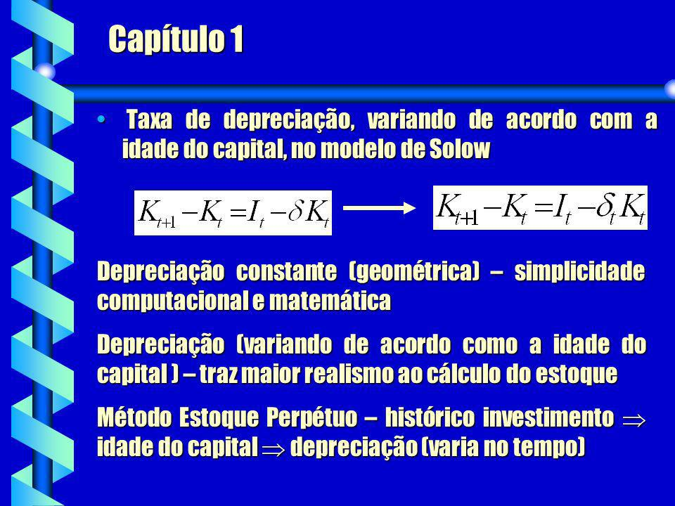 Capítulo 1 Taxa de depreciação, variando de acordo com a idade do capital, no modelo de Solow.