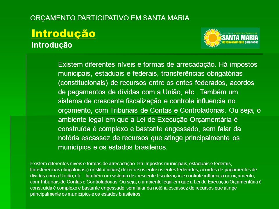 Introdução ORÇAMENTO PARTICIPATIVO EM SANTA MARIA