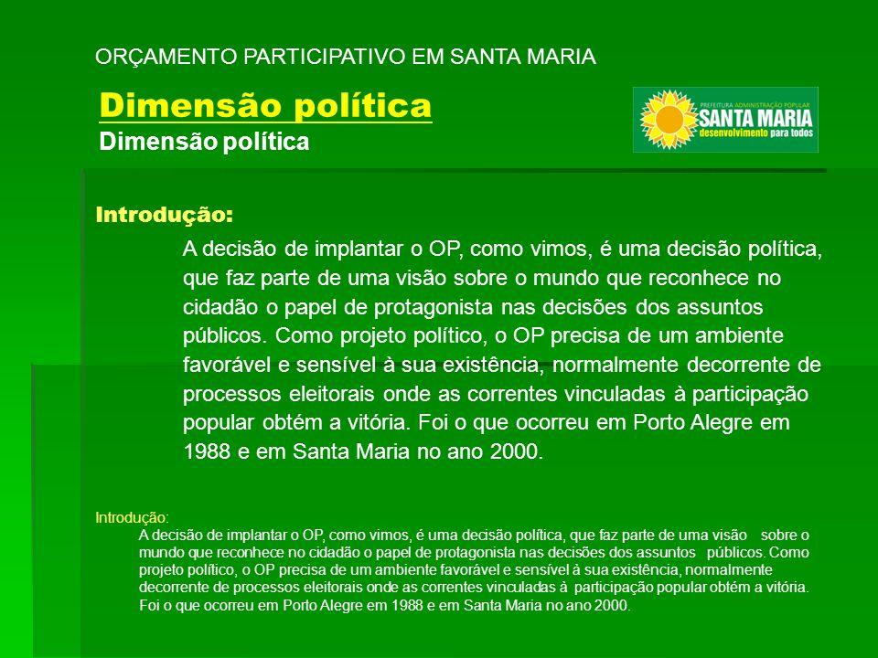Dimensão política ORÇAMENTO PARTICIPATIVO EM SANTA MARIA Introdução: