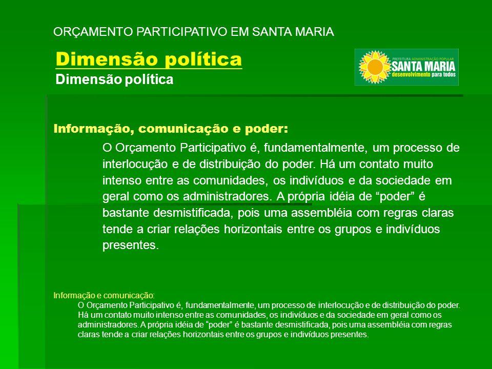 Dimensão política ORÇAMENTO PARTICIPATIVO EM SANTA MARIA