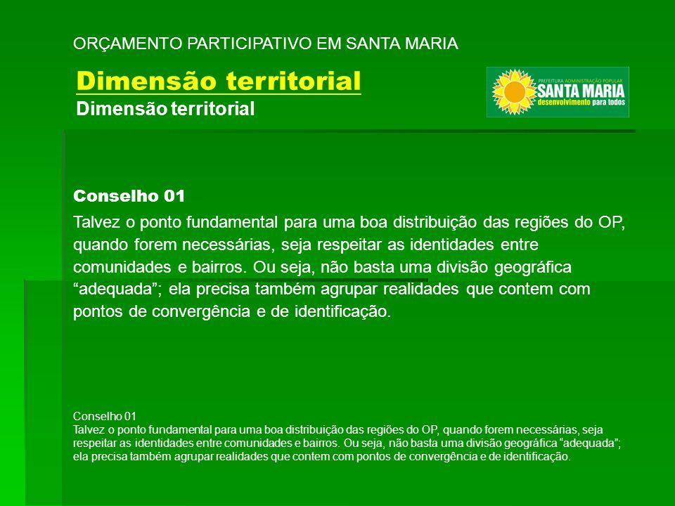 Dimensão territorial ORÇAMENTO PARTICIPATIVO EM SANTA MARIA