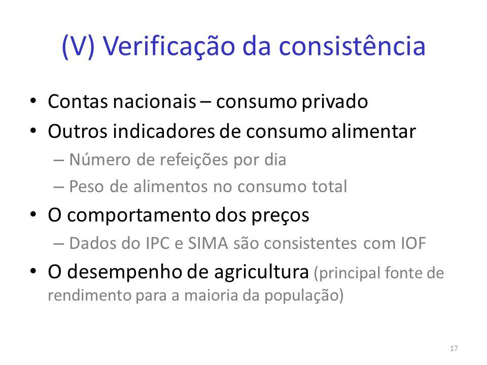 (V) Verificação da consistência