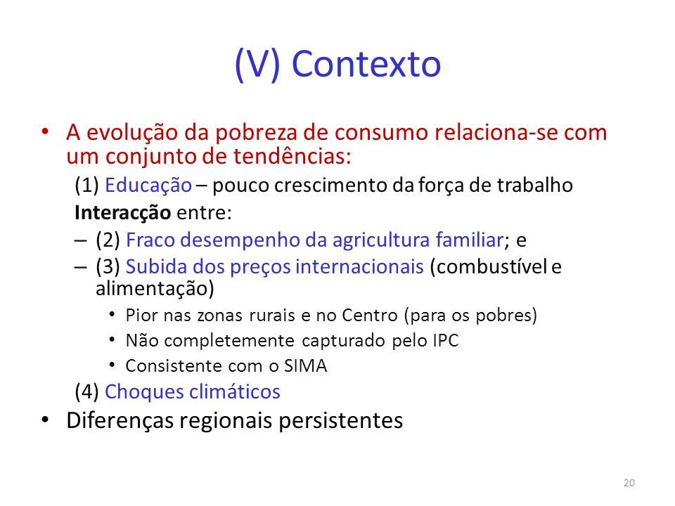 (V) Contexto A evolução da pobreza de consumo relaciona-se com um conjunto de tendências: (1) Educação – pouco crescimento da força de trabalho.
