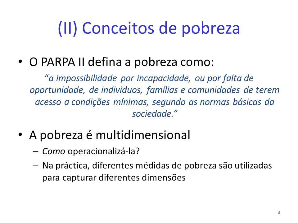 (II) Conceitos de pobreza