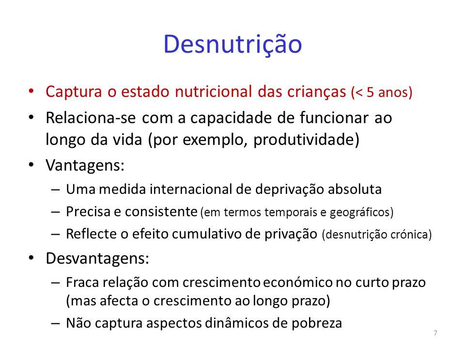 Desnutrição Captura o estado nutricional das crianças (< 5 anos)