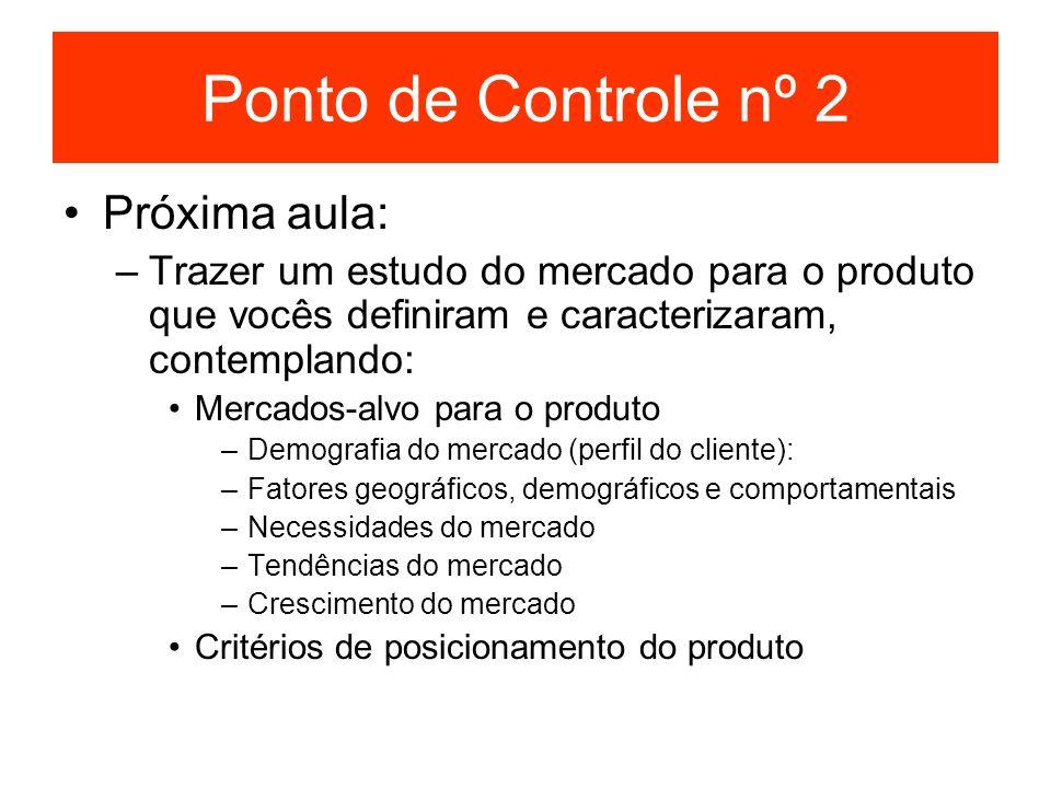Ponto de Controle nº 2 Próxima aula: