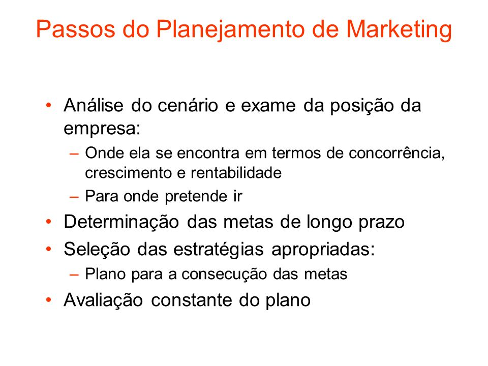 Passos do Planejamento de Marketing