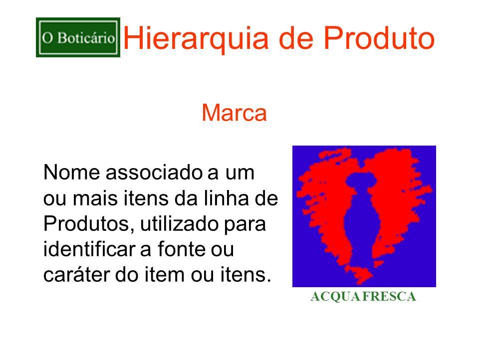 Hierarquia de Produto Marca Nome associado a um
